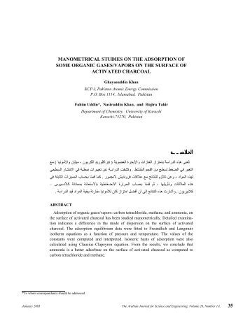 Manometrical Studies on the Adsorption of Some Organic Gases ...