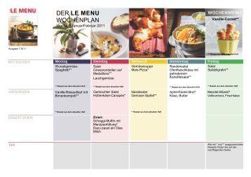 LE MENU Wochenplan 1 Januar/Februar 2011
