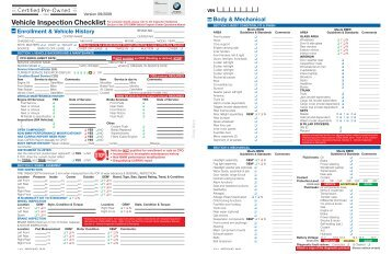 Bmw Certified Pre Owned Vehicle Inspection Checklist