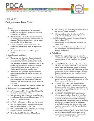 Pdca P3 Painting And Decorating Contractors Of America