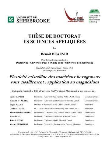Plasticité cristalline des matériaux hexagonaux ... - Benoît Beausir