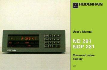 User's Manual ND 281, NDP 281 - heidenhain - DR. JOHANNES ...