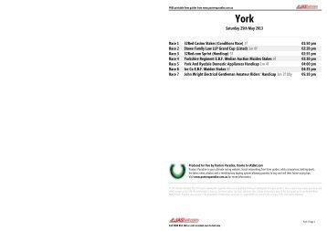York FREE Form Guide - Saturday 25th May 2013 - Punters Paradise