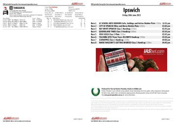 Ipswich FREE Form Guide - Friday 28th June 2013 - Punters Paradise