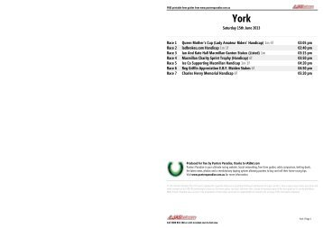 York FREE Form Guide - Saturday 15th June 2013 - Punters Paradise