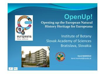 Institute of Botany Slovak Academy of Sciences Bratislava, Slovakia