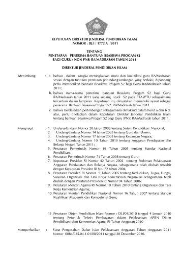Keputusan Dirjen Pendis Tentang Penerima Bantuan Guru (Non PNS)