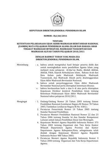 SK Dirjen Pelaksanaan UAMBN 2011 - Portal Kementerian Agama RI