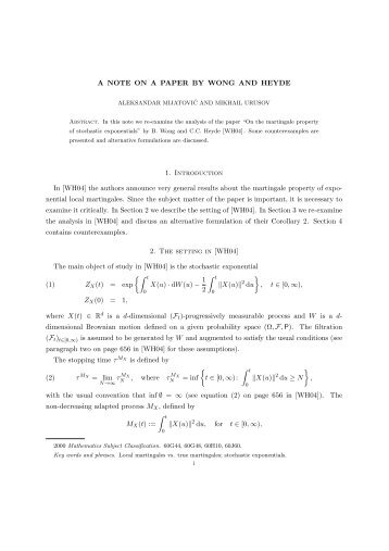 A NOTE ON A PAPER BY WONG AND HEYDE 1. Introduction In ...