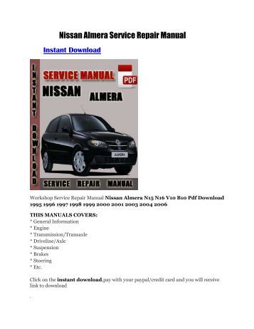 download 352 mb 2000 2006 nissan almera n16. Black Bedroom Furniture Sets. Home Design Ideas