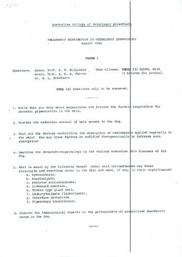 Fellowship Exam 1984 Papers 1 & 2 - Australian College of ...