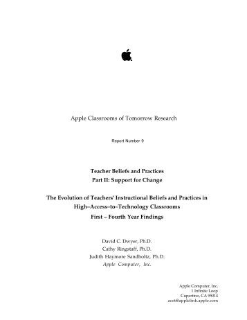 Apple Classrooms of Tomorrow Research Teacher Beliefs and ...