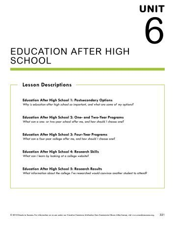 the importance of education after high school Social and psychological skills: education in school and other learning  build  skills and foster traits that are important throughout life and may be important to  health, such  fewer high-quality schools, often because public schools are  poorly.