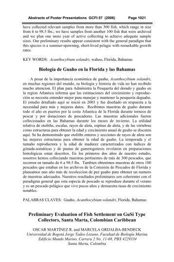 Aldana education - Gulf and Caribbean Fisheries Institute