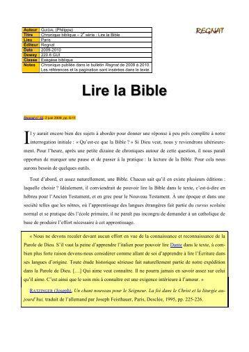 Lire la Bible - Regnat