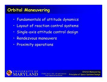 MARYLAND Orbital Maneuvering