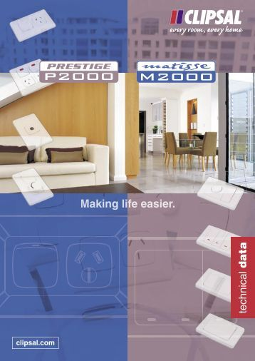 Prestige P2000 & Matisse M2000 Technical Catalogue - Clipsal