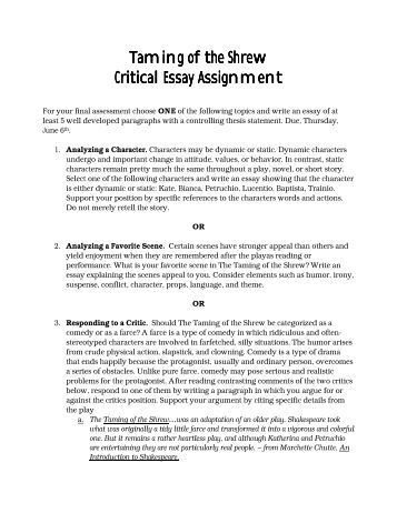 taming of the shrew essay questions taming of the shrew essay  taming of the shrew essay questions