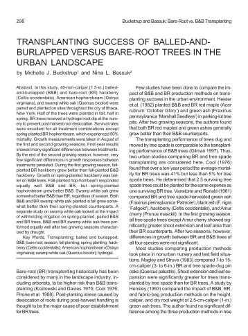 transplanting success of balled-and- burlapped versus bare-root ...
