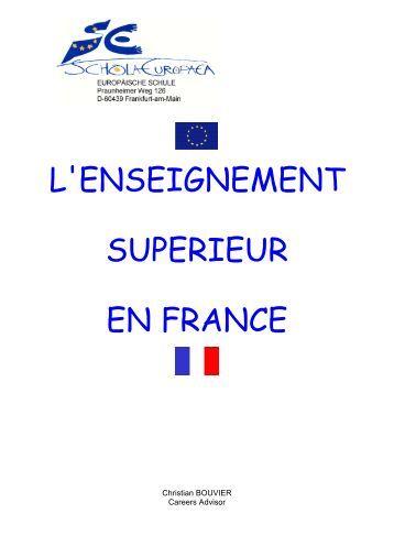 L'ENSEIGNEMENT SUPERIEUR EN FRANCE