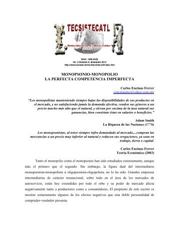 monopsonio-monopolio la perfecta competencia ... - Eumed.net