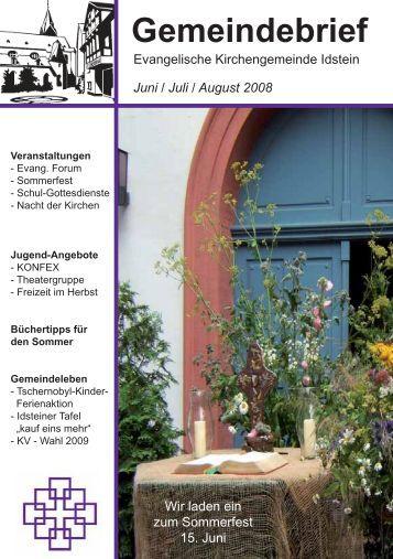 Gemeindebrief, Ausgabe Juni/Juli/August 2008 - Evangelische ...