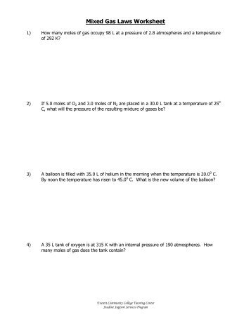 Ghs honors chemistry gas laws worksheet 2