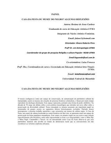 PAINEL CASA DA FESTA OU MUSEU DO NEGRO ... - FAEB