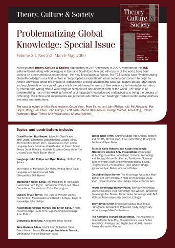 Problematizing Global Knowledge - Faculty of Arts and Social ...