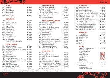 La carte menu wok het oosten for Lucky wok garden city