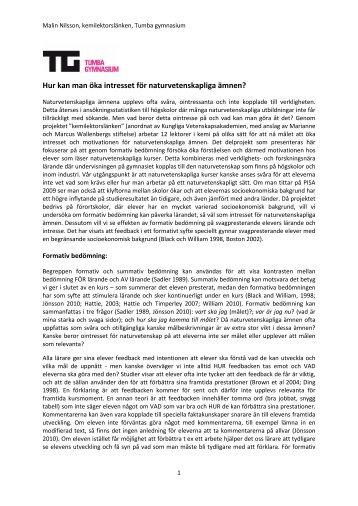 Hur kan man öka intresset för naturvetenskapliga ämnen - Skolporten