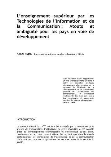 L'enseignement supérieur par les Technologies de l'Information et ...