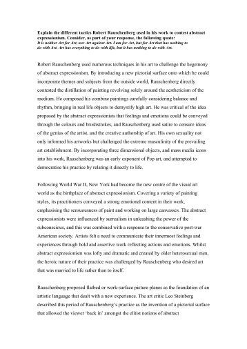 robert rauschenbergs almanac essay Note: citations are based on reference standards however, formatting rules can vary widely between applications and fields of interest or study the specific requirements or preferences of your reviewing publisher, classroom teacher, institution or organization should be applied.