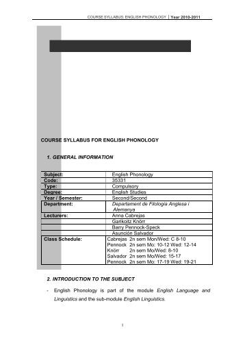 COURSE SYLLABUS FOR ENGLISH PHONOLOGY Code