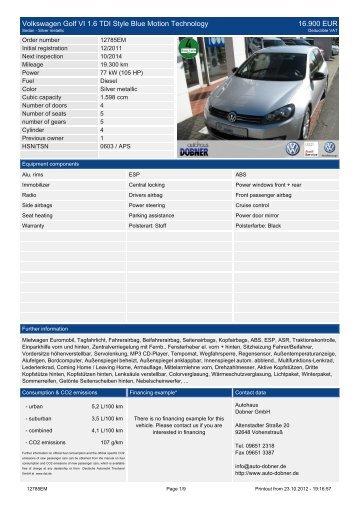 Volkswagen Golf Variant Style 1.6 TDI DPF ... - Autohaus Dobner