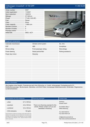 Volkswagen Crossgolf 1.9 TDI DPF 14.990 EUR - Autohaus Eckardt ...