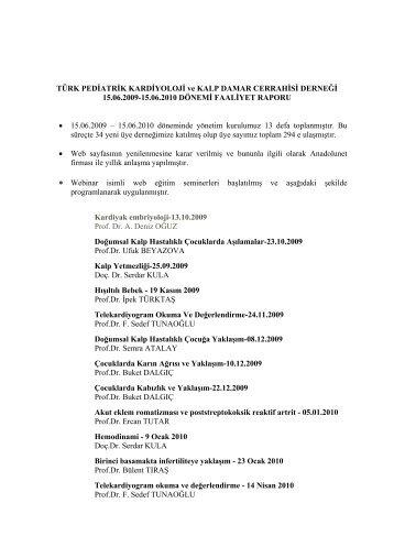 faaliyet raporu - Türk Pediatrik Kardiyoloji ve Kalp Cerrahisi Derneği