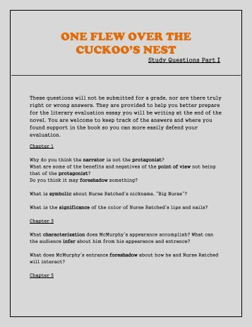 a literary analysis of one flew over the cuckoos nest Ken kesey published one flew over the cuckoo's nest in the year of 1962 the 1960's was a period of social turmoil when the civil rights movement and the second wave of feminism occurred therefore, this novel takes a stance as a form of retaliation against the civil rights and feminist movements.