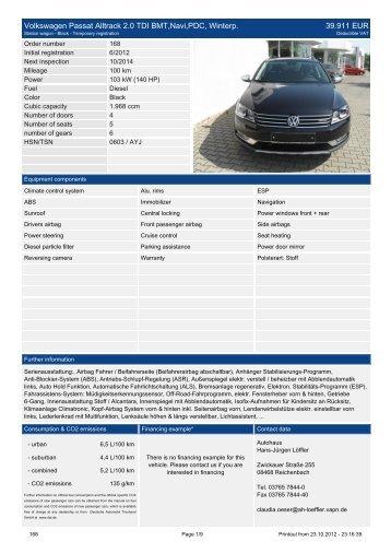 Volkswagen Passat Alltrack 2.0 TDI BMT Navi ... - Autohaus Löffler