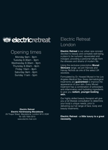 Electric Price List London - WEB - Electric Hair