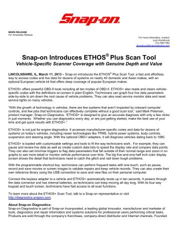 Snap-on Introduces ETHOS Plus Scan Tool
