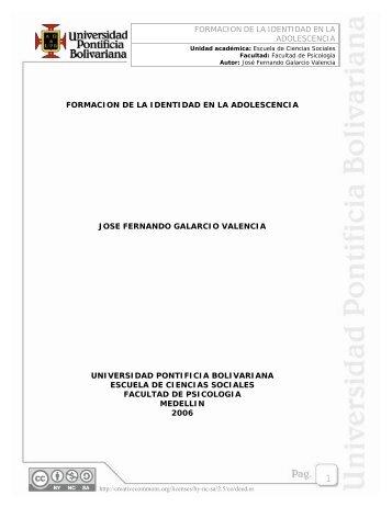 FORMACION DE LA IDENTIDAD EN LA ADOLESCENCIA ...