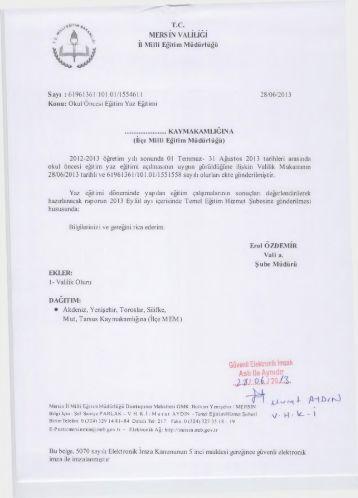 Yazı ve Ekleri. - mersin il millî eğitim müdürlüğü