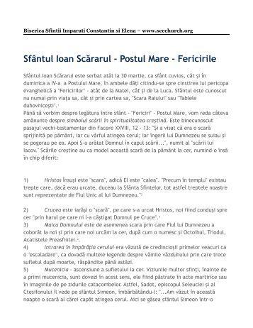 Sfântul Ioan Scărarul - Postul Mare - Fericirile - Biserica Ortodoxă ...