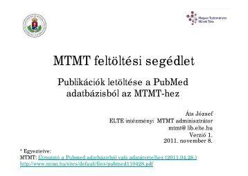 Mtmt-hez Pubmed letöltés - ELTE