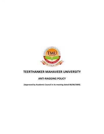 Anti Ragging Policy - Tmu.ac.in
