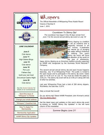 2010 June Issue - Whispering Pines Nudist Resort