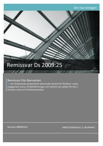 Remissvar Ds 2009:25 - Barnverket