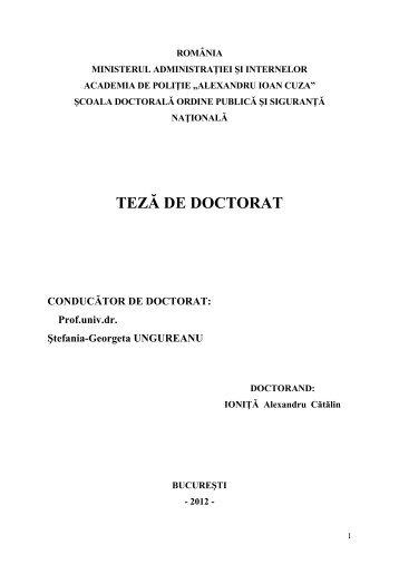 rezumat teză - Alexandru Ioan Cuza