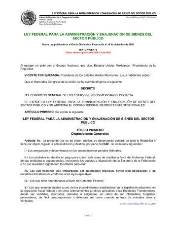 Ley Federal para la Administracion Enajenacion de Bienes
